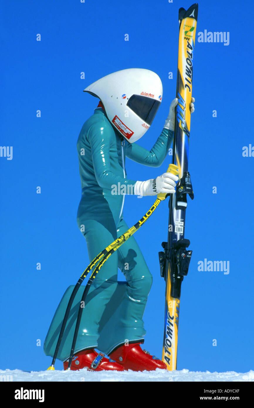 High Speed Skier Wearing Racing Suit And Helmet 11 Years