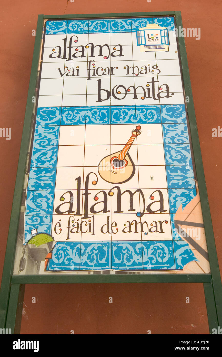 Lisbon Portugal Alfama Publicity sign Alfama is Easy to love - Stock Image