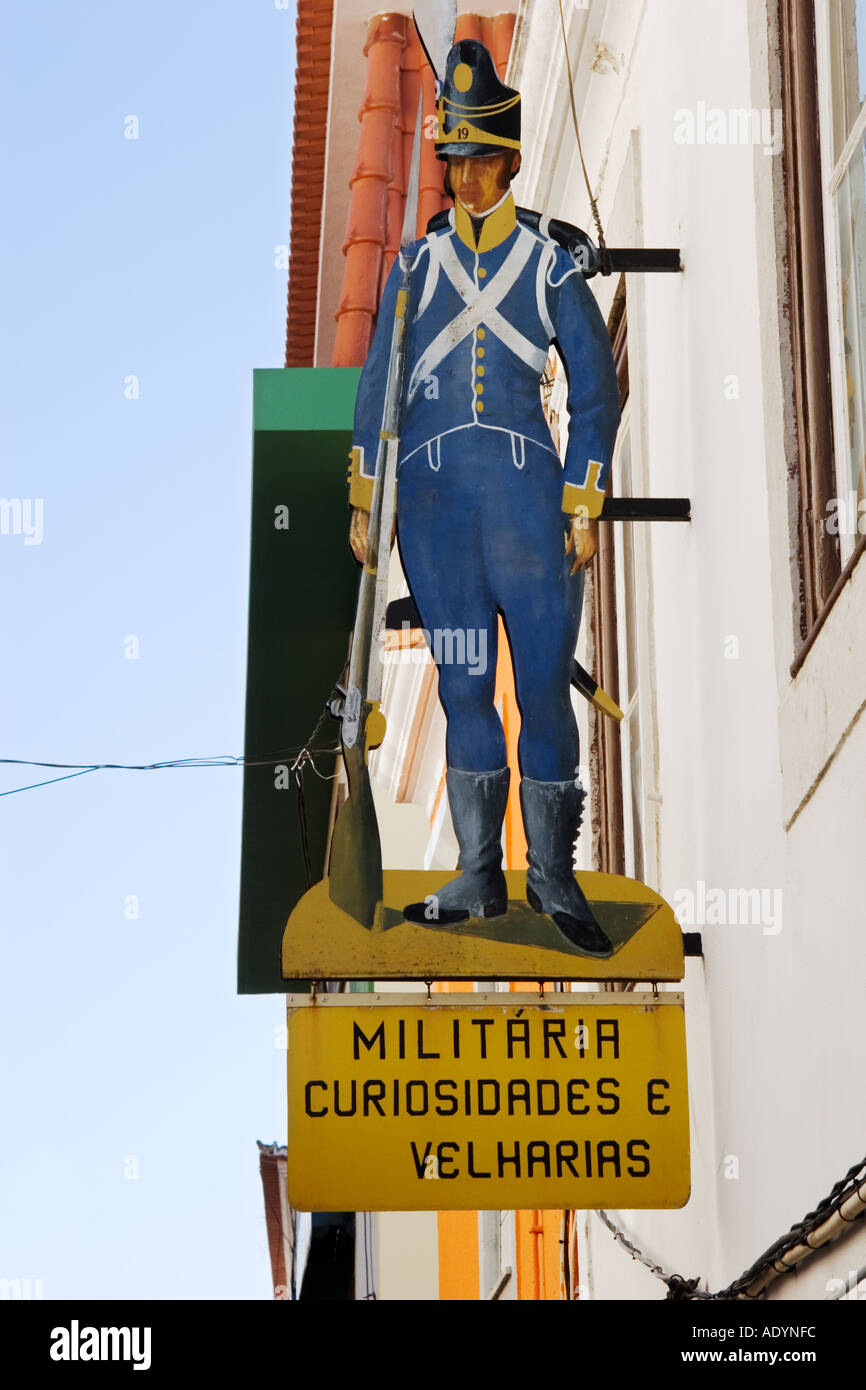 Cascais Portugal Sign for military curiosities shop - Stock Image