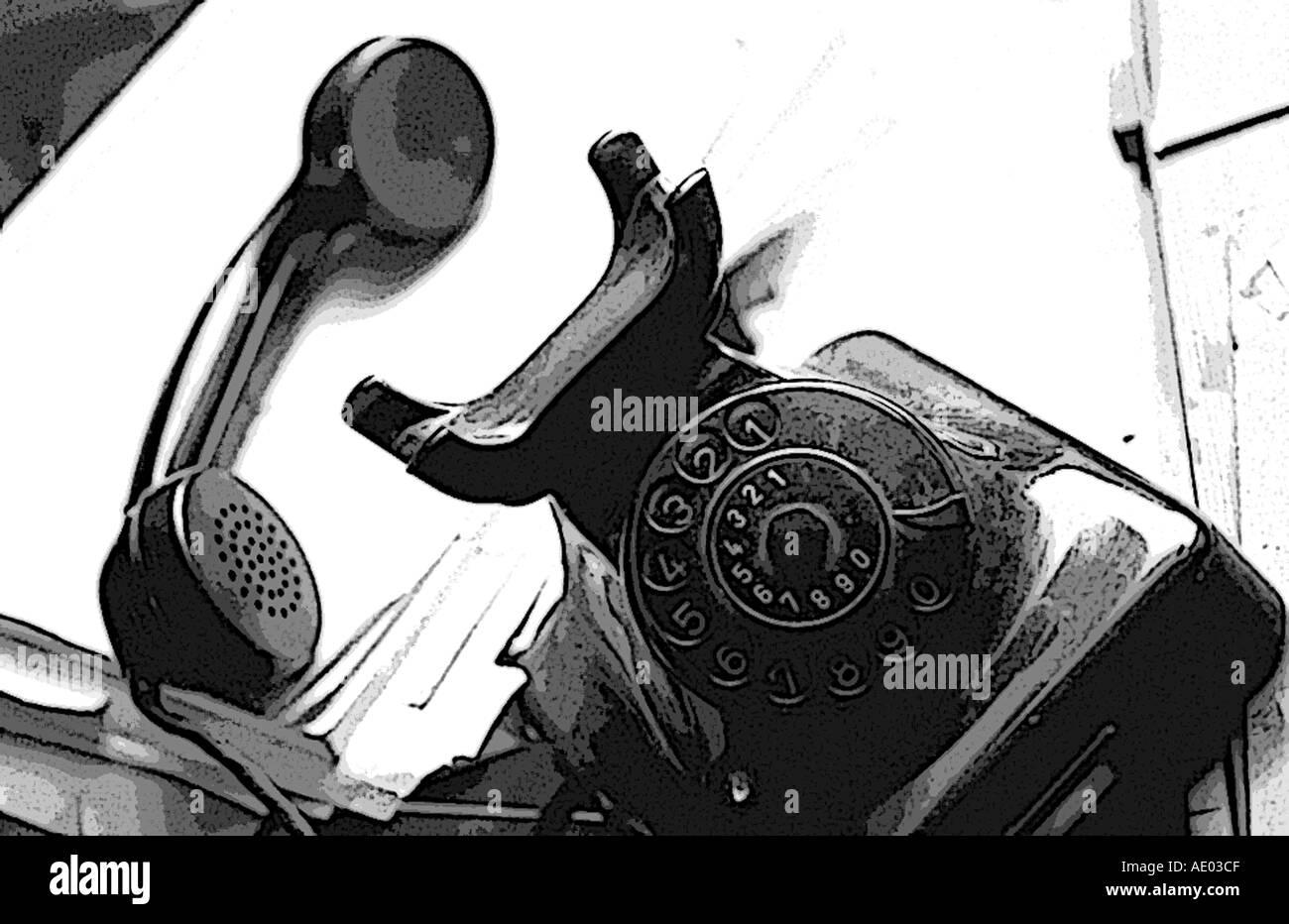Old telephone BW Stock Photo