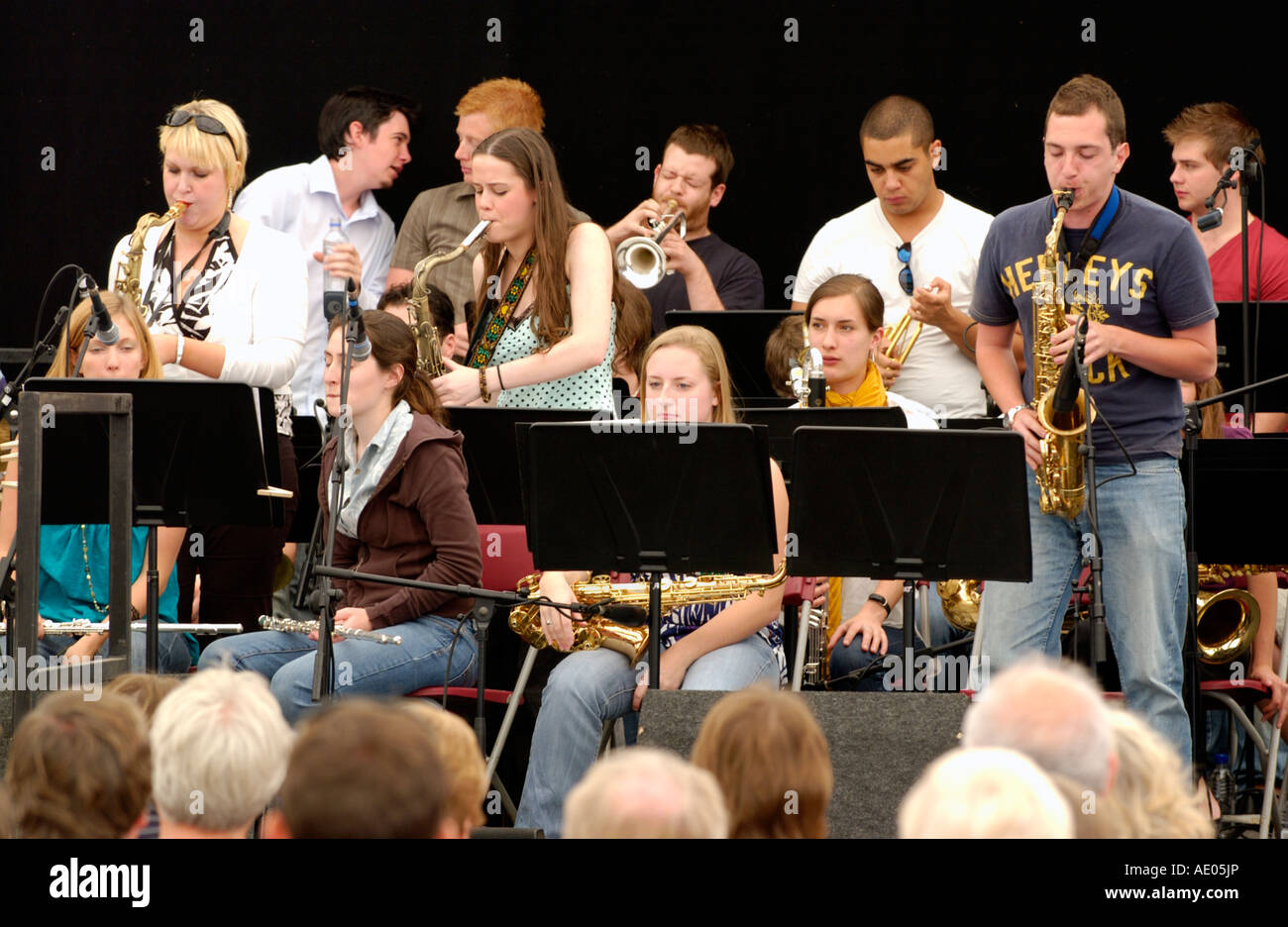 Royal Welsh College of Music and Drama Jazz Ensemble playing Brecon Jazz Festival Powys Wales UK - Stock Image