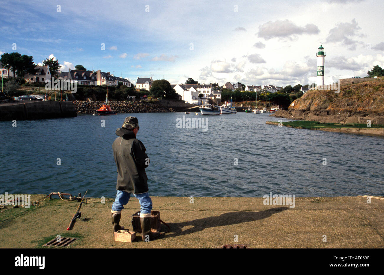 fisher Dep Finistere sout coast near Quimperle Doelan - Stock Image