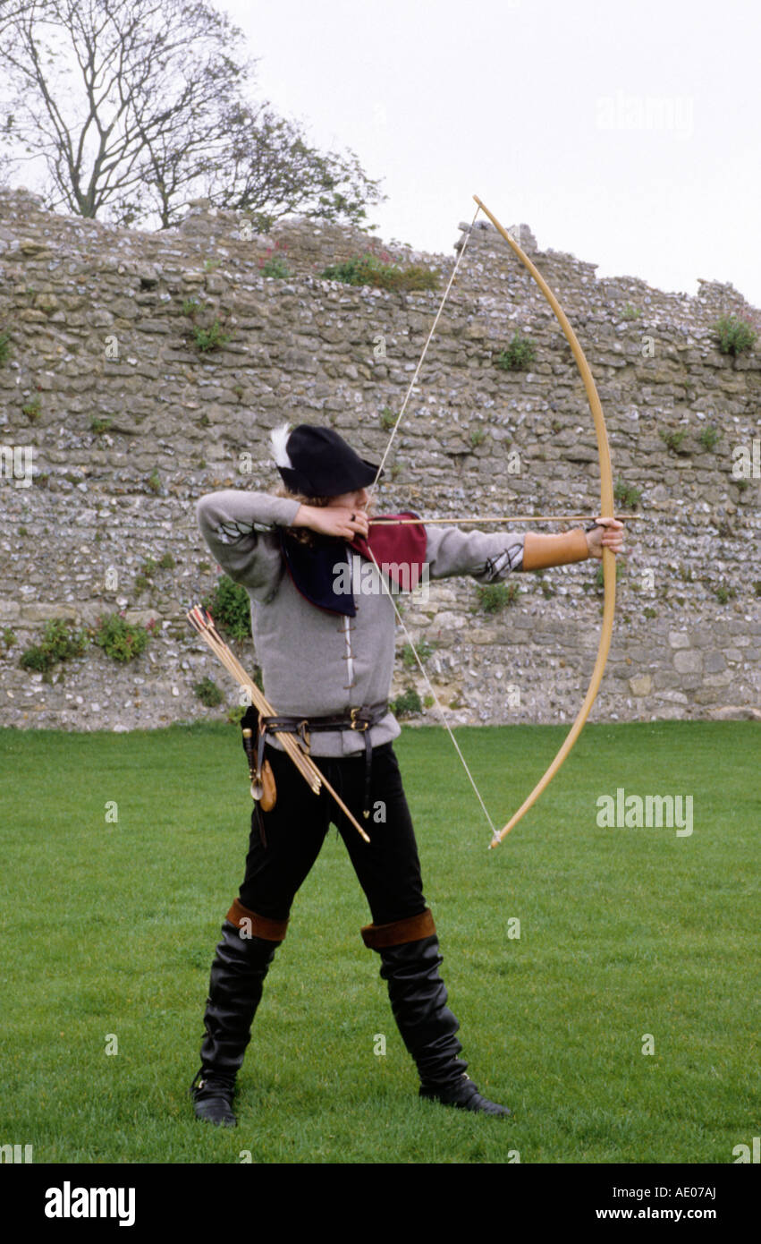 Medieval archer bowman bow and arrow archery long bow re-enactment re-enactor history English historical costume & Medieval archer bowman bow and arrow archery long bow re-enactment ...