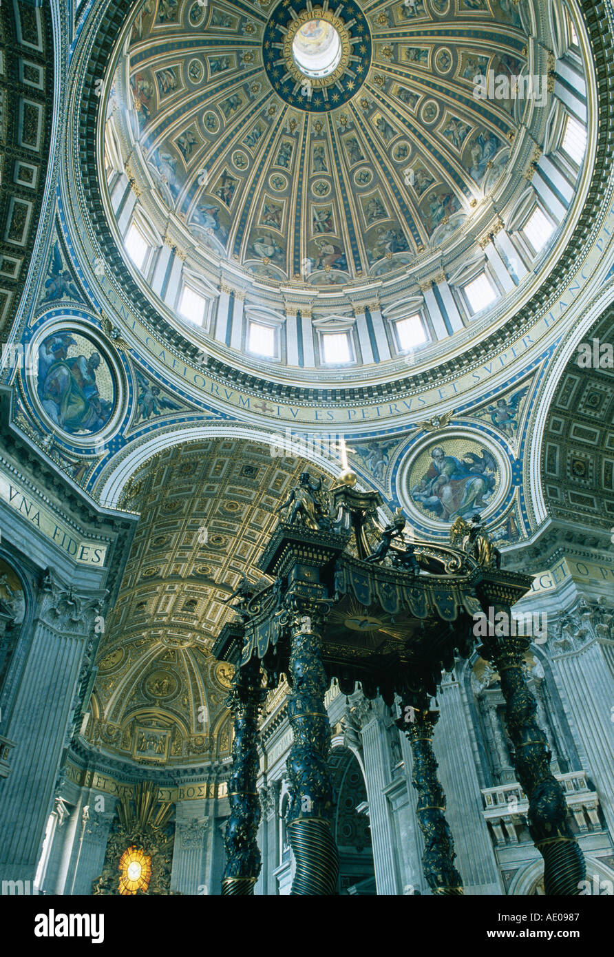 Bernini´s Altar and Michelangelo´s Dome St Peter´s Basilica Rome Italy - Stock Image