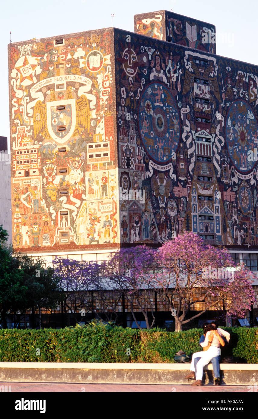 University City Library with mural by Juan O´Gorman Mexico City Mexico Stock Photo