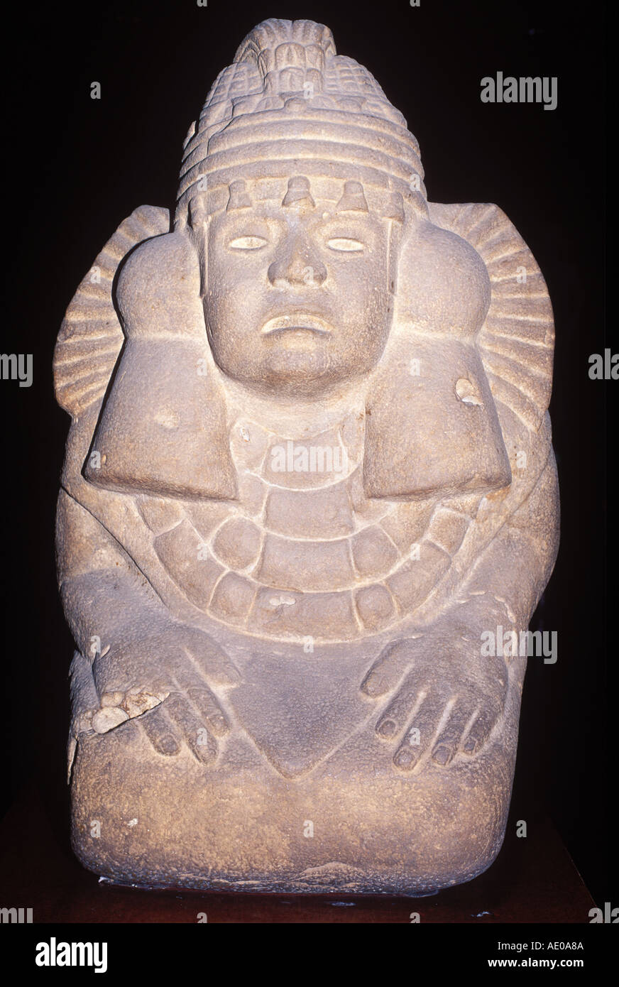 Stone Carving of God called Xilonen National Museum of Anthropology Huastec Museu Nacional de Antropologia Anthropological Museo - Stock Image