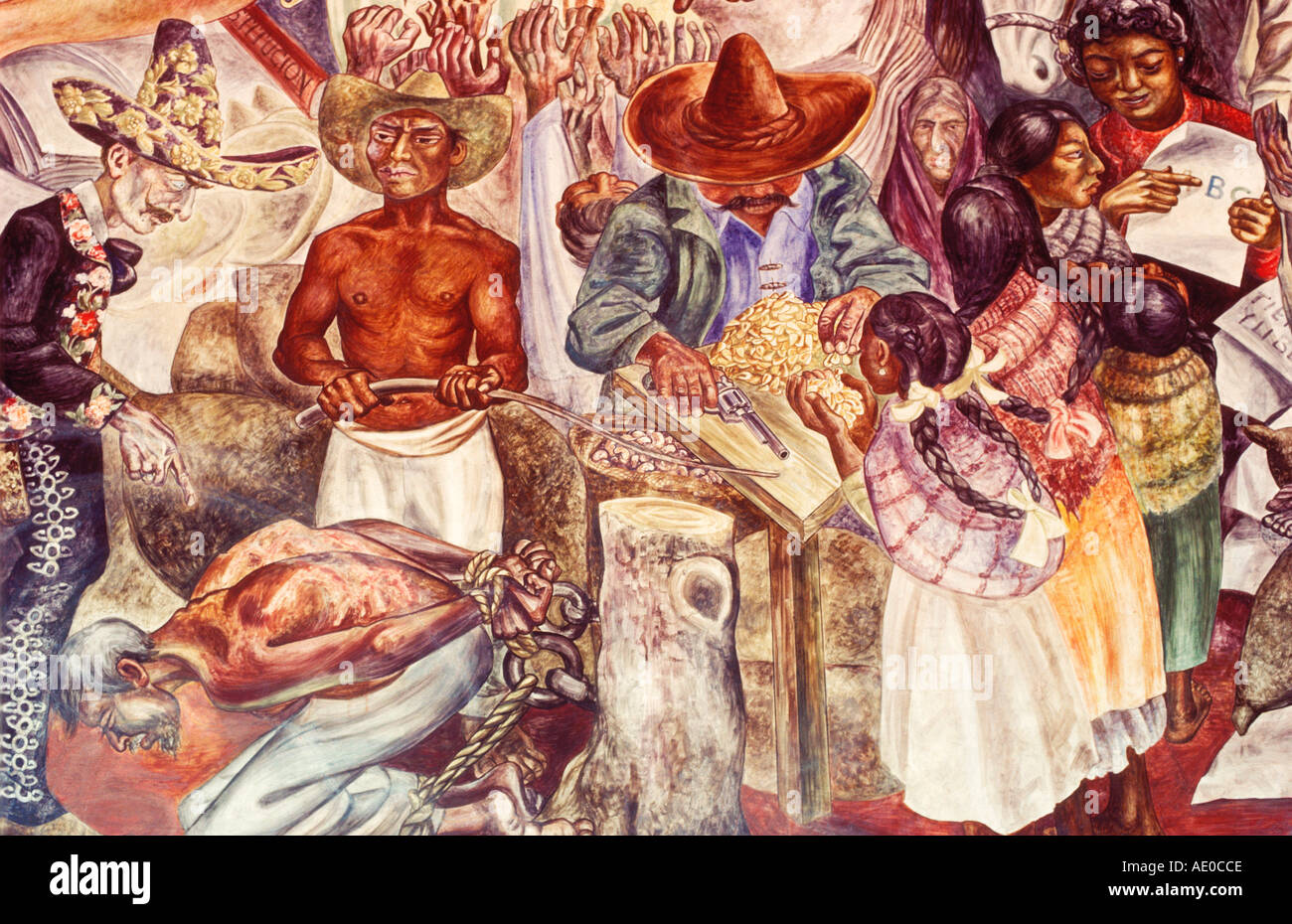 Mural on Government Palace Aguascalientes Mexico - Stock Image