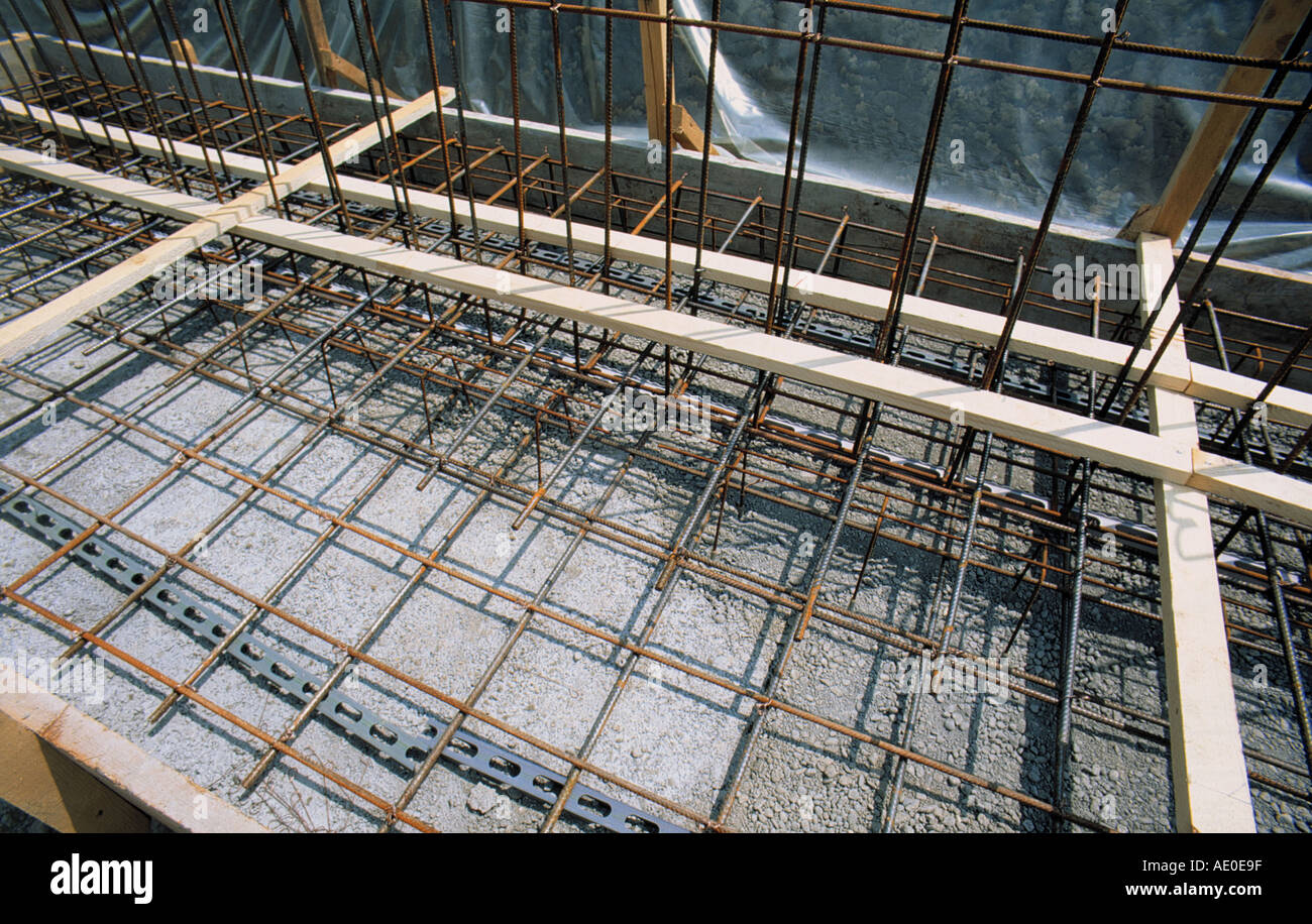 rebar reinforcement steel at construction site - Stock Image