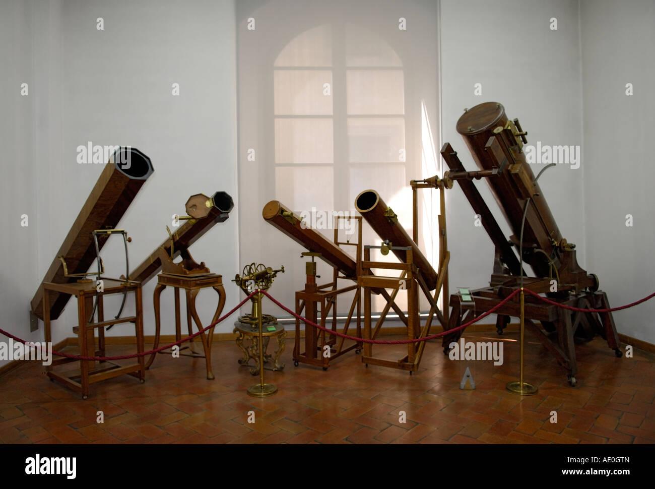 Antique telescopes Museo Galileo, Florence - Stock Image