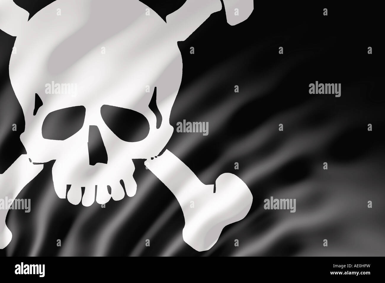 The Pirate flag or Jolly Roger shown with ripples caused by the wind - Stock Image