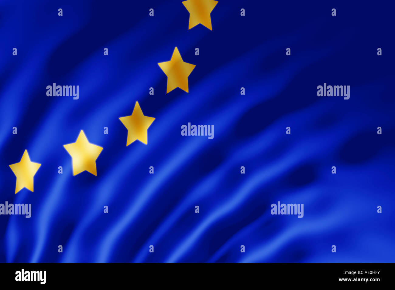 The European Union flag shown with ripples caused by the wind - Stock Image