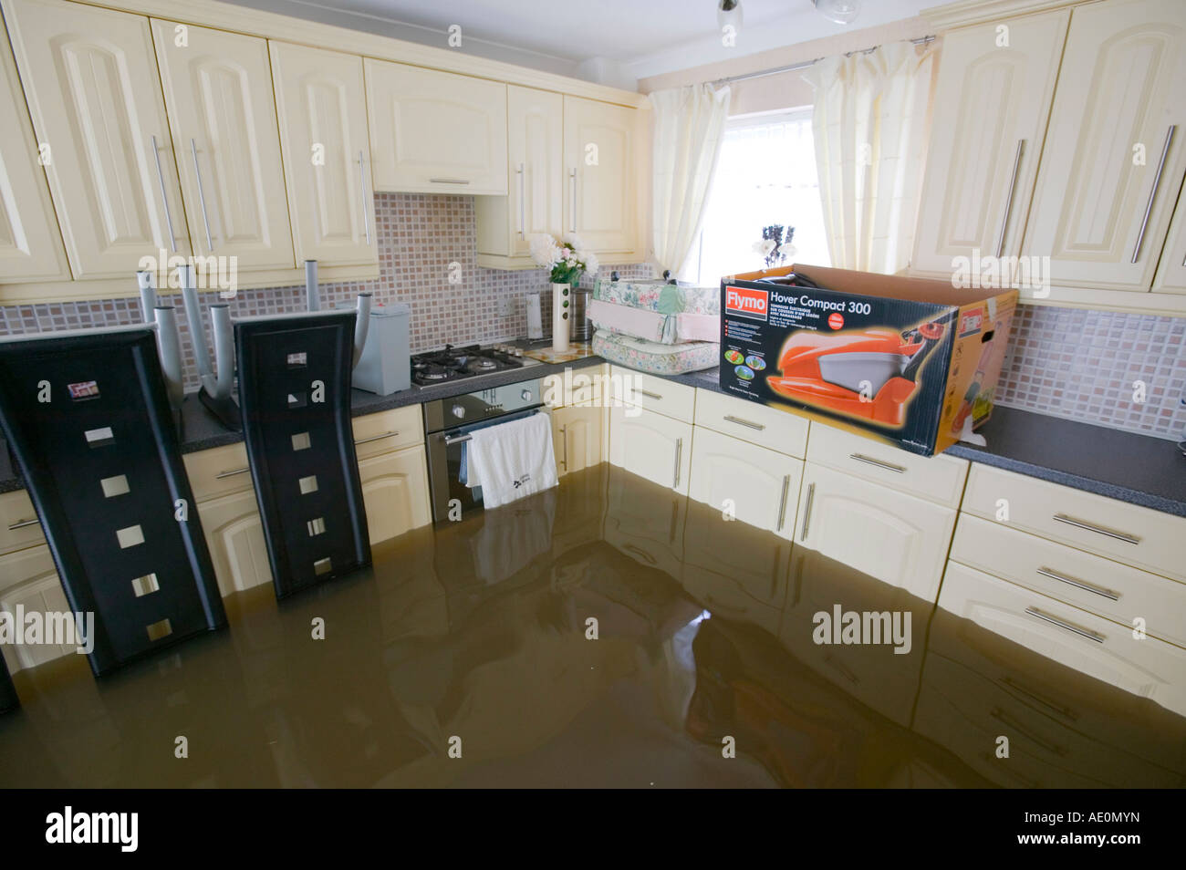 kitchen sink flooding a flooded kitchen in the floods in toll bar doncaster 2714