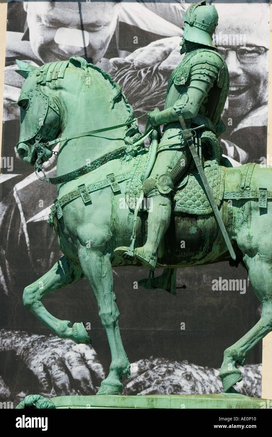 Sweden, Goteborg, Statue of horseman Stock Photo