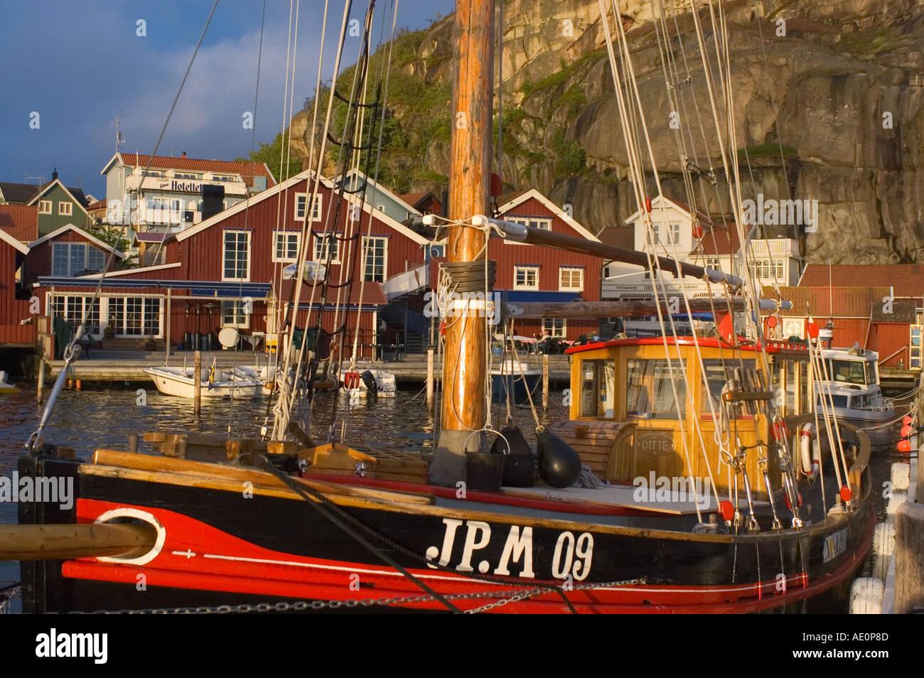 Sweden, Fjallbacka, Fishing boat in harbor Stock Photo