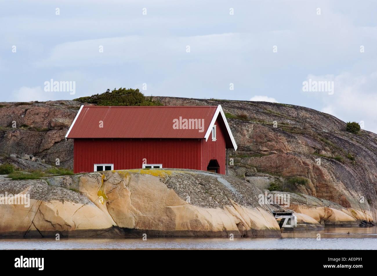 Sweden, Fjallbacka, Boathouse Stock Photo