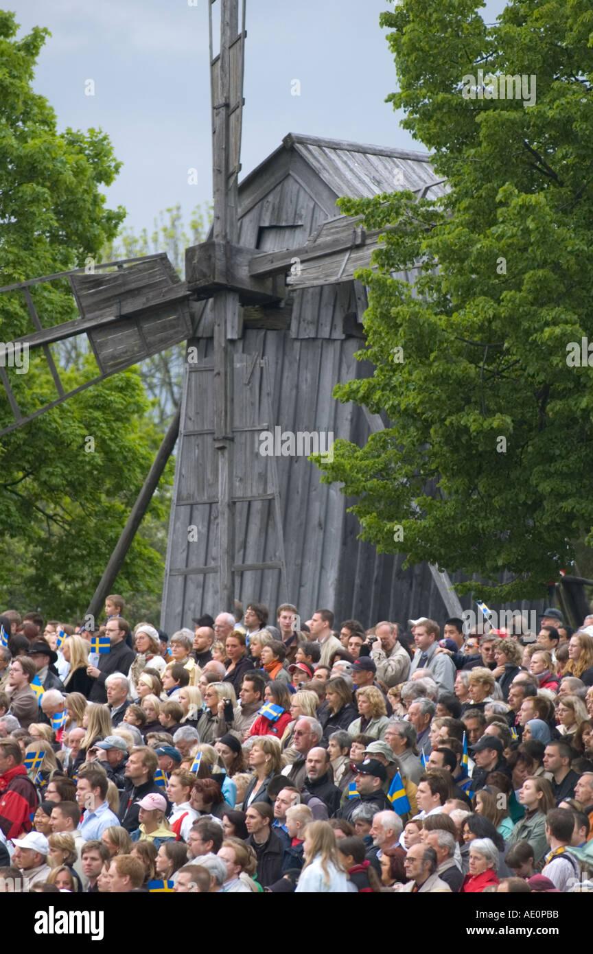 Sweden, Stockholm, National day crowd at Skansen Stock Photo