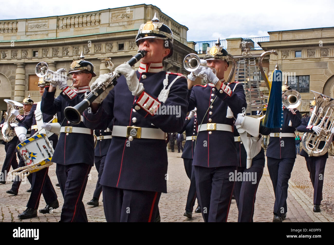 Sweden, Stockholm, Band, Changing of the guard - Stock Image