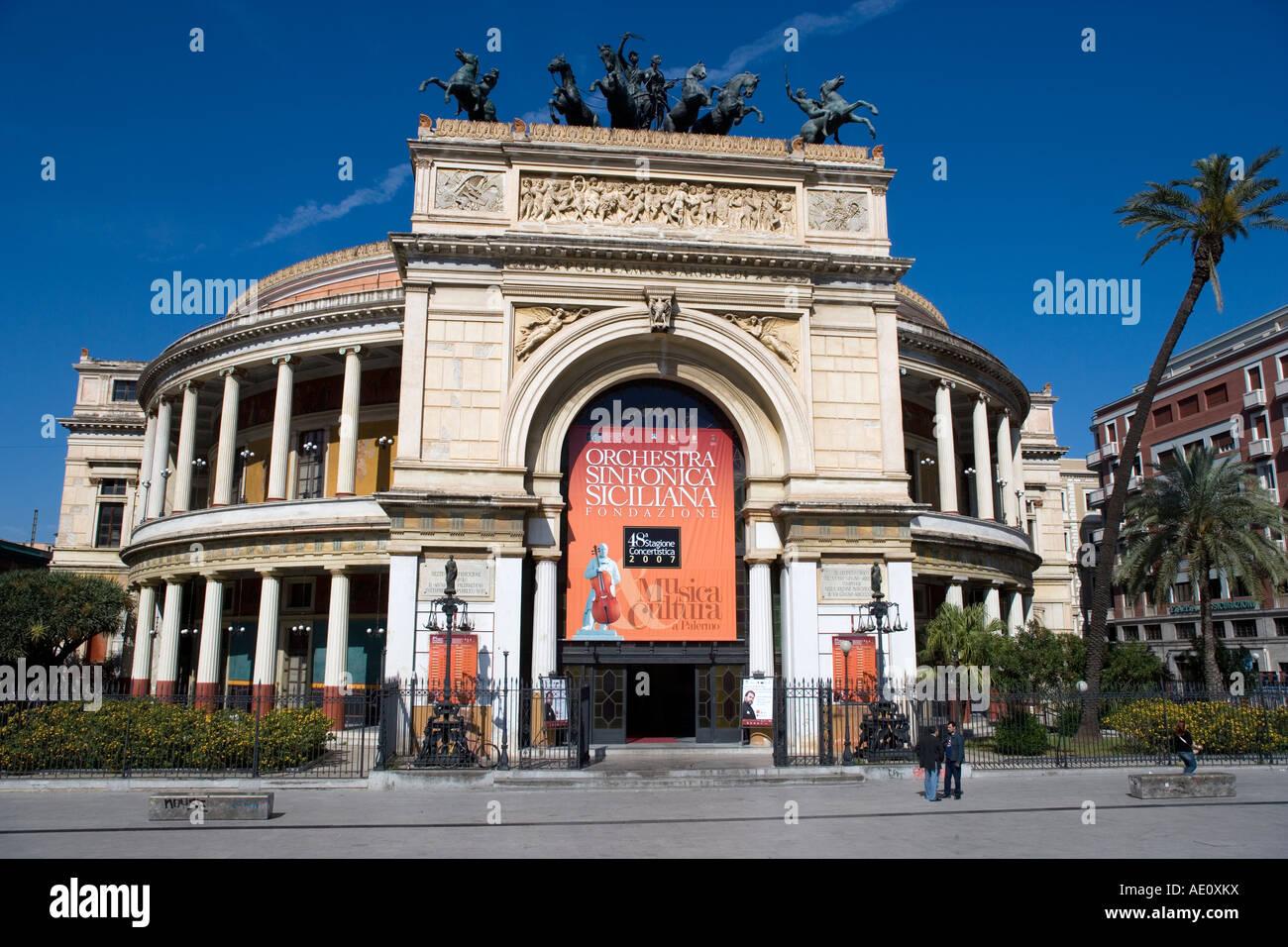 Teatro Politeama Garibaldi Palermo Sicily Italy Stock Photo
