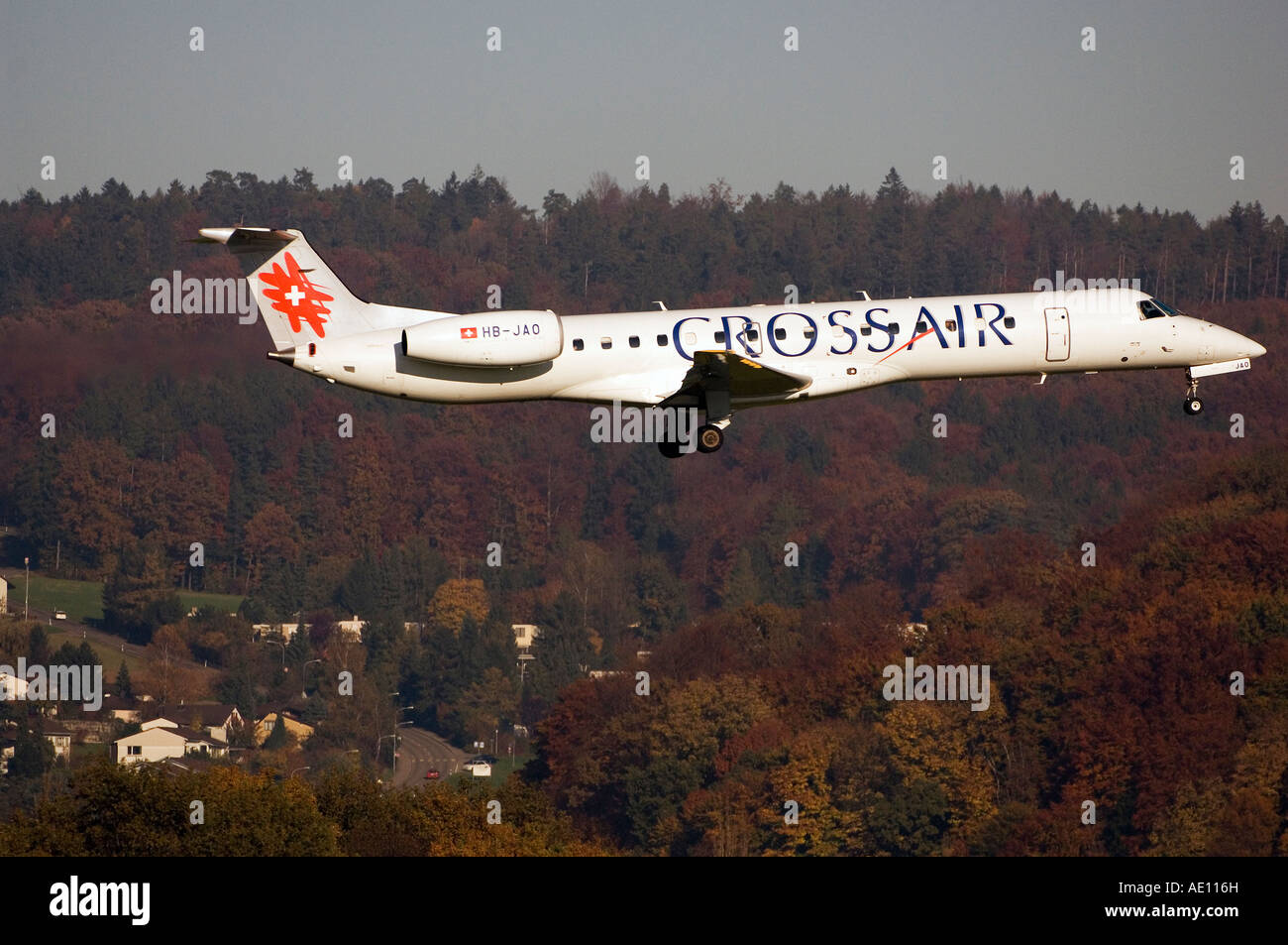 A Crossair plane landing at the airport in Zurich, Switzerland - Stock Image