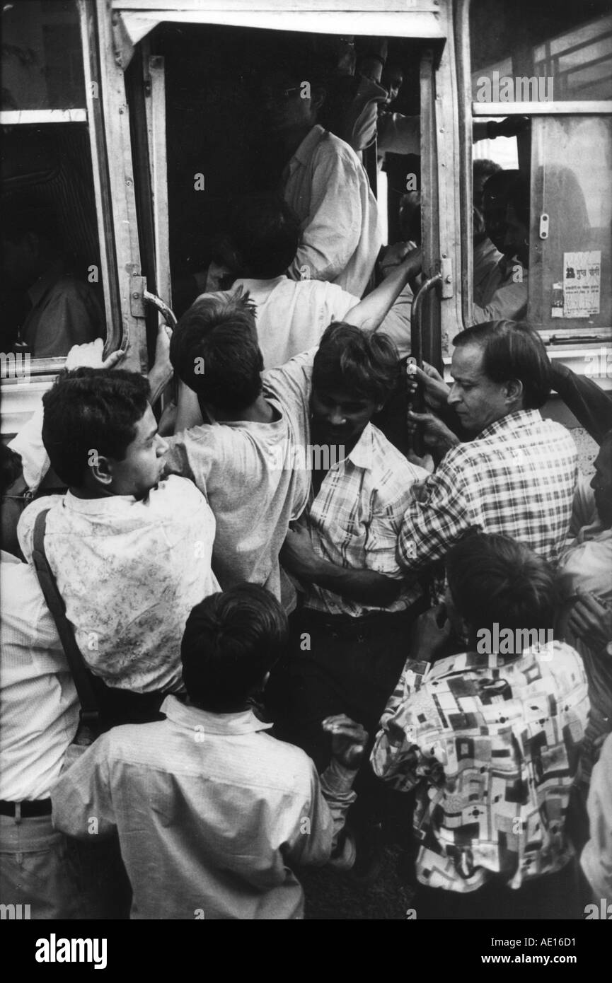 People in a crowded bus Sadar bazaar Delhi India - Stock Image