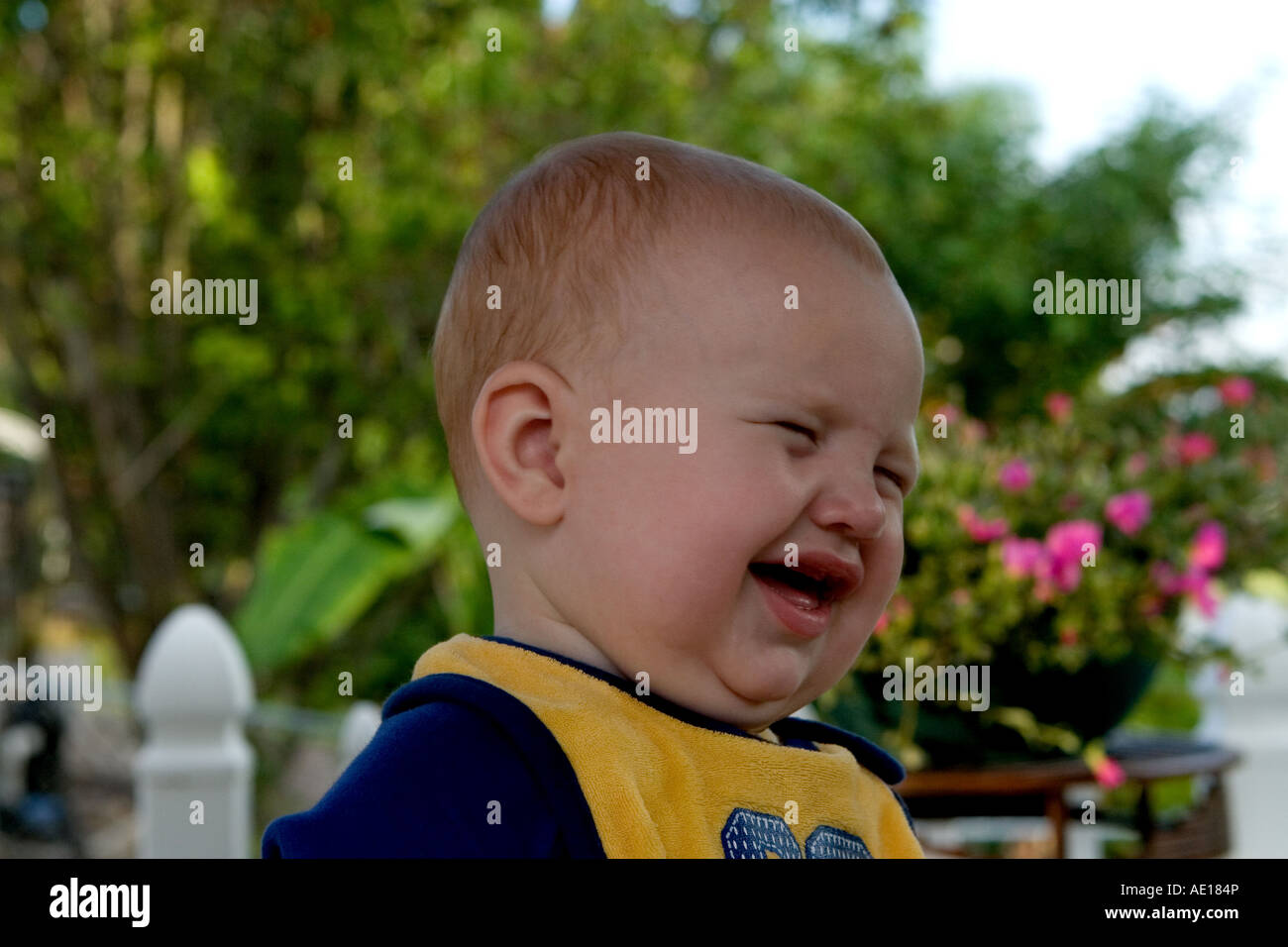 Infant Male Child Head and Shoulders Crying - Stock Image