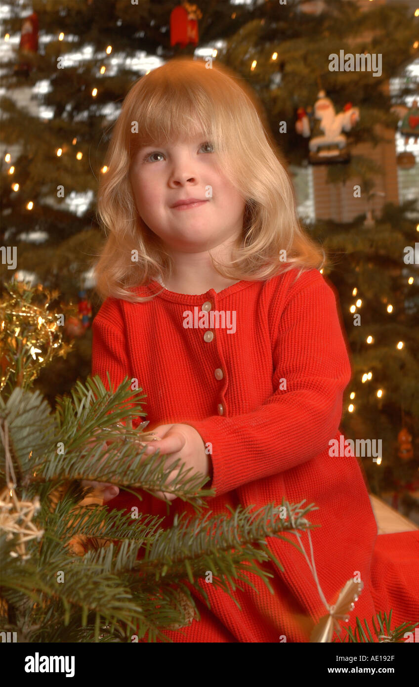 Little Girl at Christmastime - Stock Image