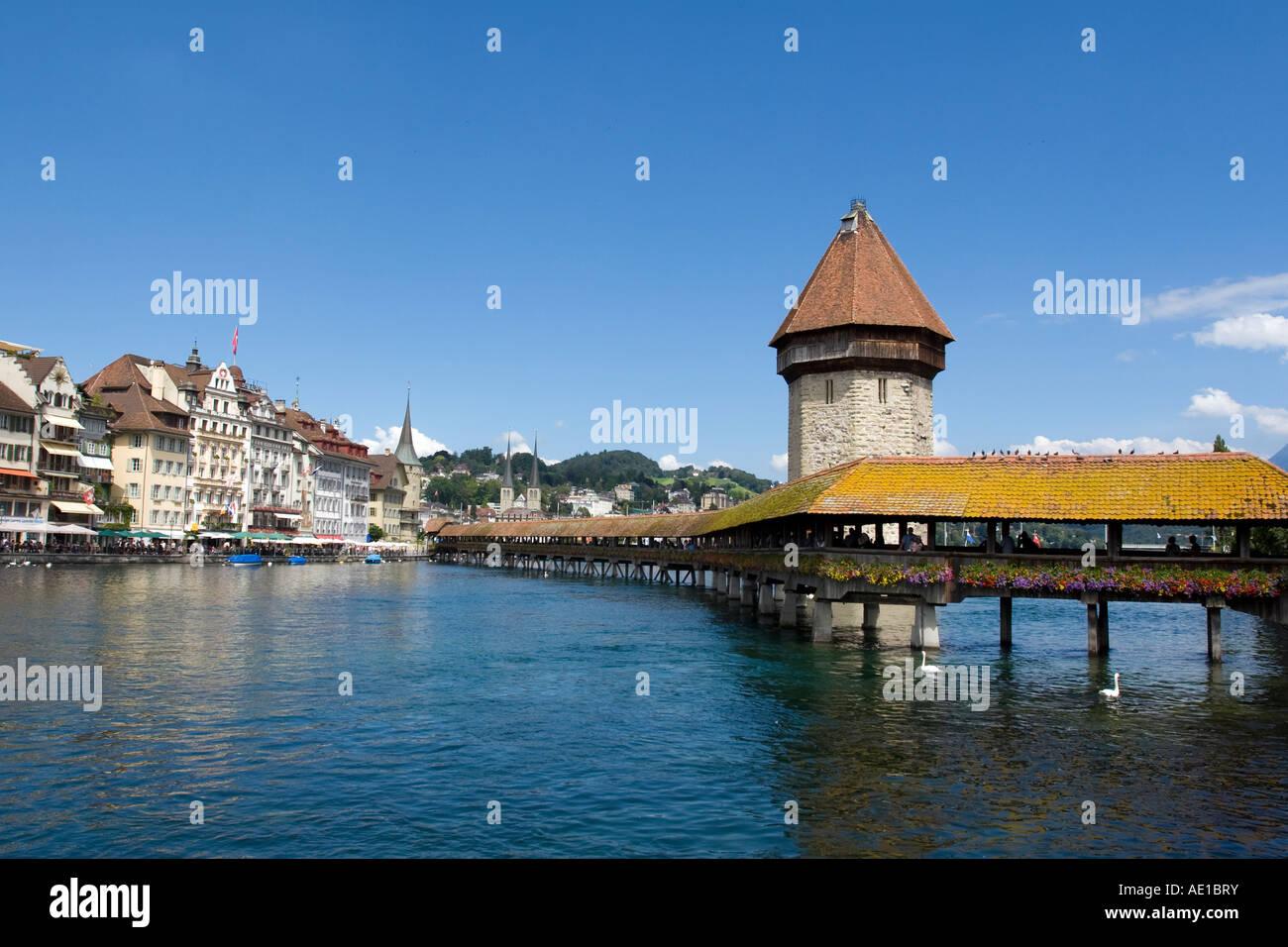 chapell bridge panorama - Stock Image
