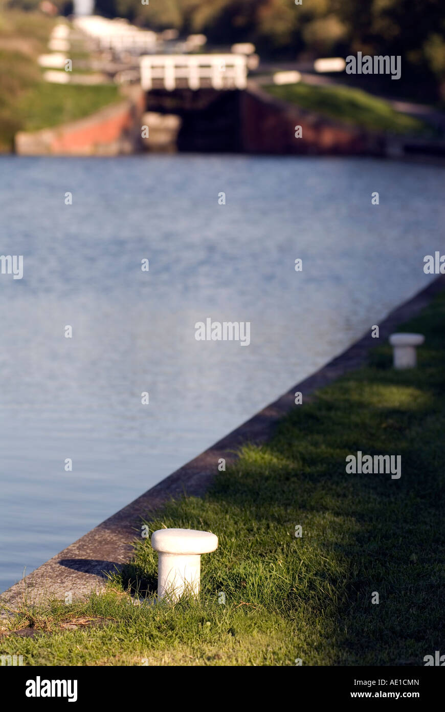 arrowboat navigating along the English canal system - Stock Image