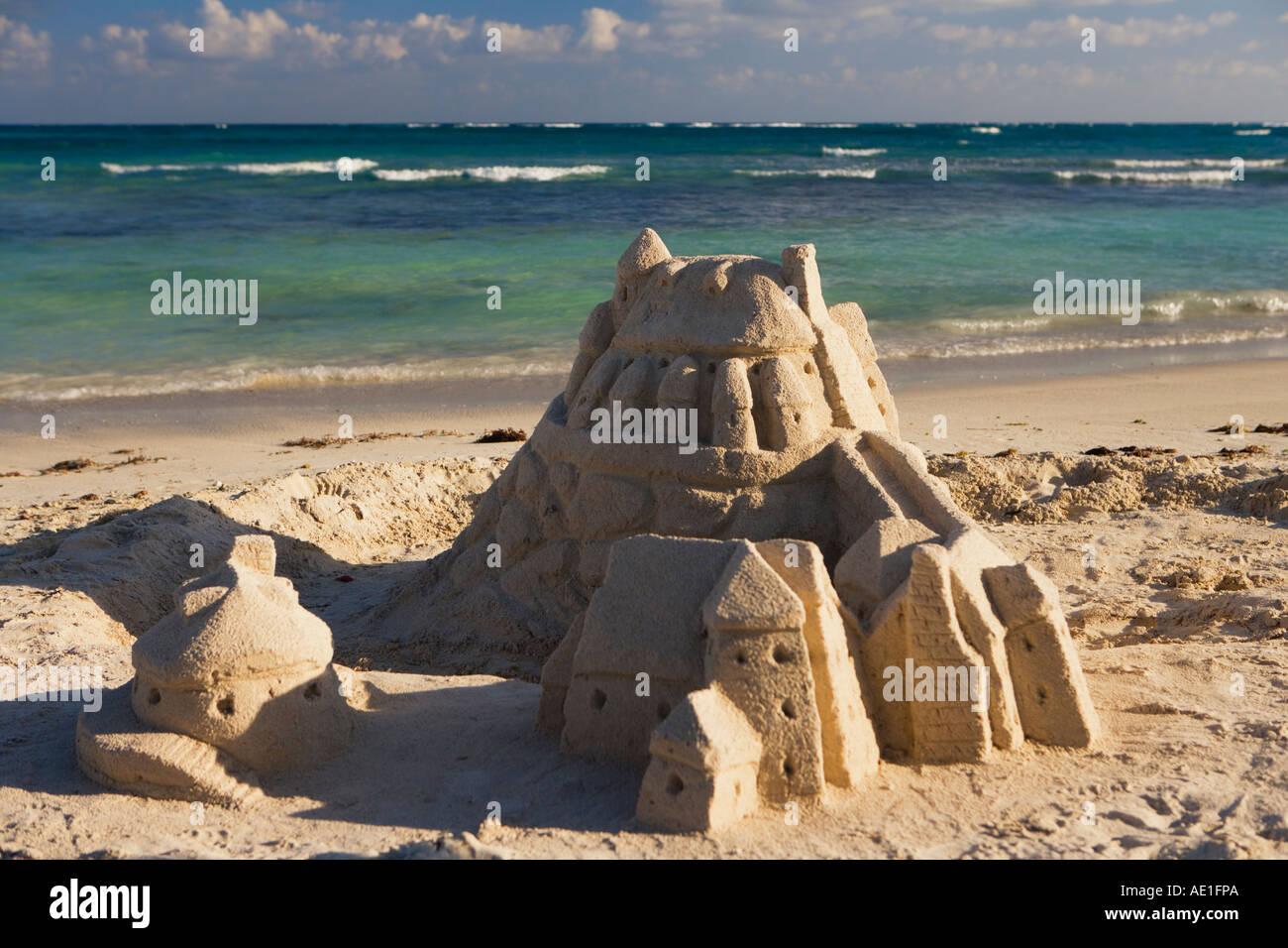 Sand Castle on the beach at Dreams Tulum Resort, Tulum, Quintana Roo, Mexico, Riviera Maya - Stock Image