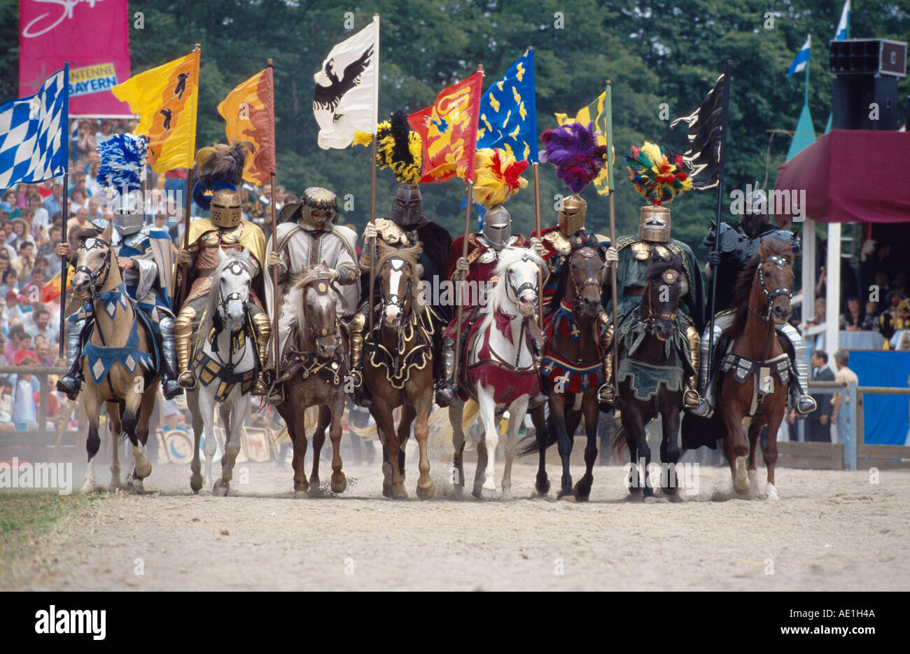 Knight Games, galahads in amour with flags, Germany, Bavaria, Kaltenberg - Stock Image