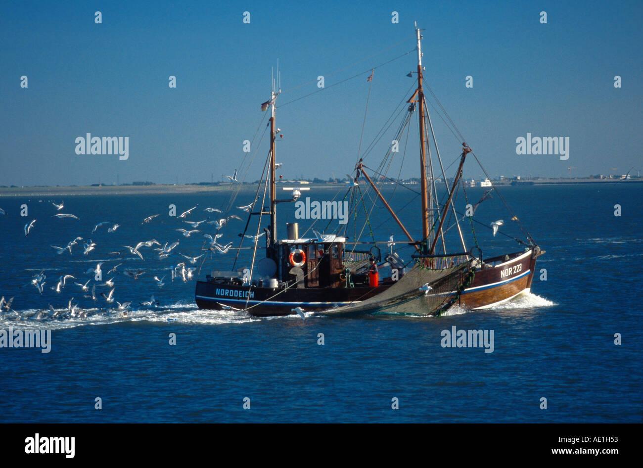fishing smack on the sea, Germany, North Sea - Stock Image