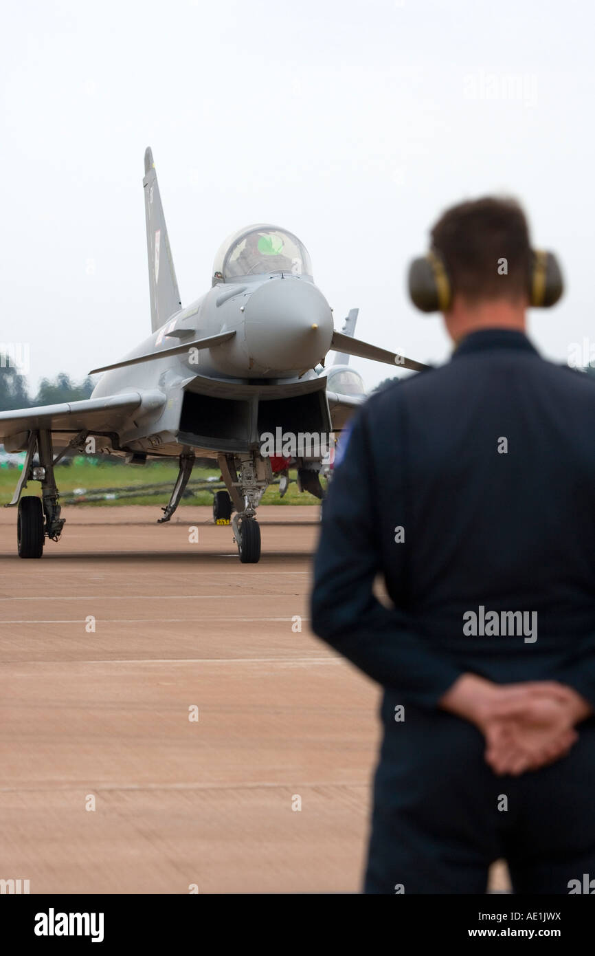 Royal Air Force Eurofighter Typhoon T1 twin-engine multi role canard delta strike fighter aircraft with ground crew - Stock Image