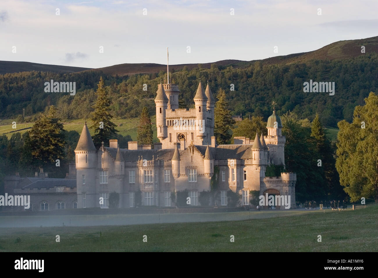 Autumn Haze at Balmoral Scottish castle at Crathie - Royal residences of the British Monarch - Deeside, Scotland, Stock Photo