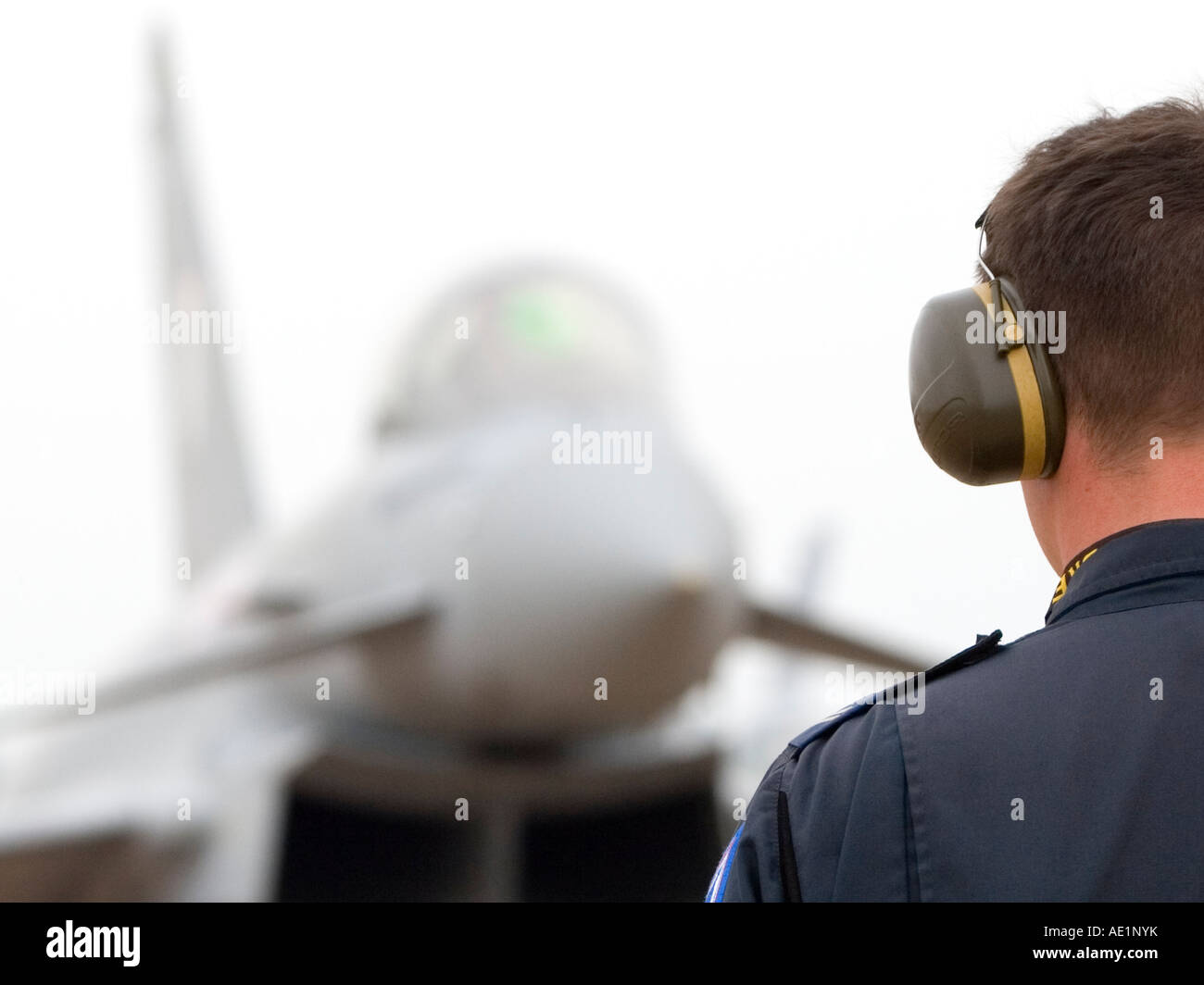 Royal Air Force Eurofighter Typhoon T1 twin-engine multi role canard delta strike fighter aircraft with groud crew - Stock Image