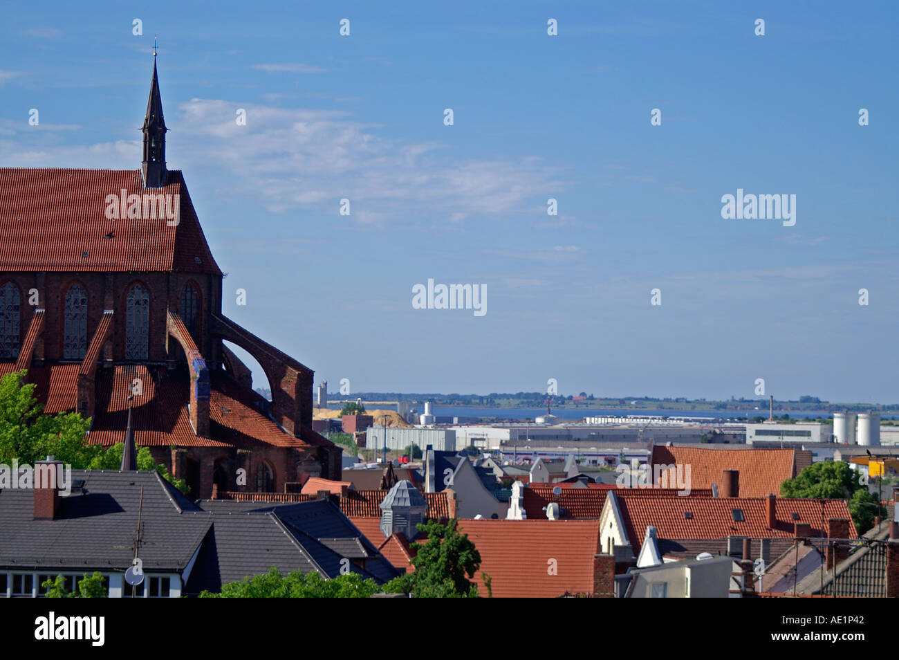 view over Wismar Baltic Sea Germany - Stock Image