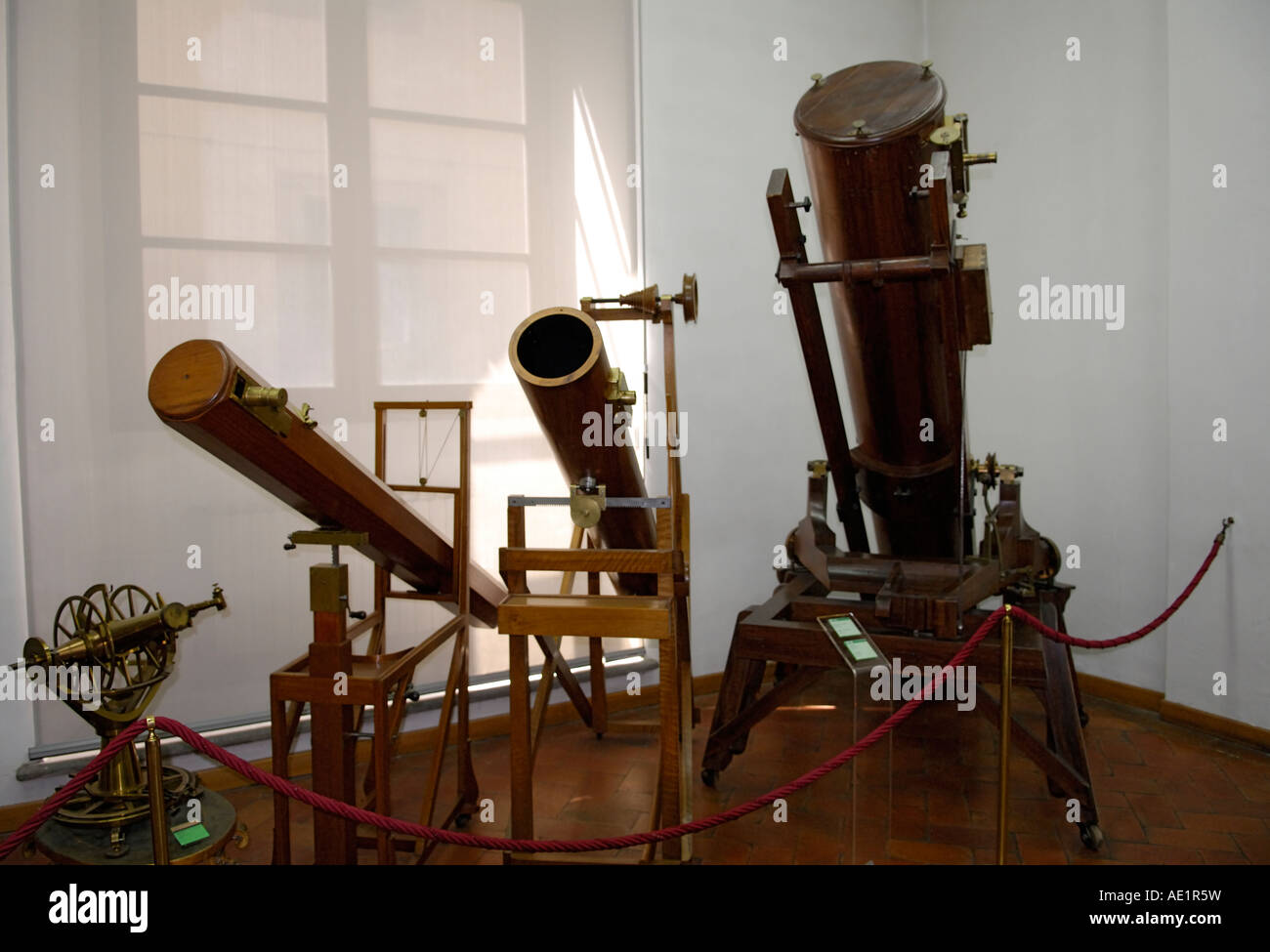 Antique telescopes, Museo Galileo, Florence, Italy - Stock Image