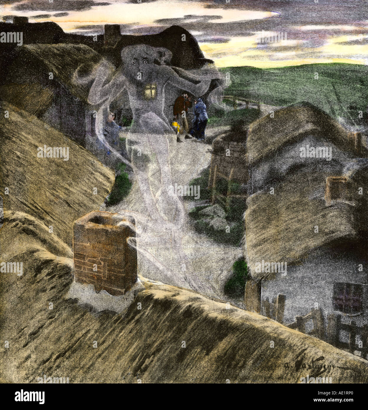 Banshee wailing to foretell death in an Irish village. Hand-colored halftone of an illustration - Stock Image