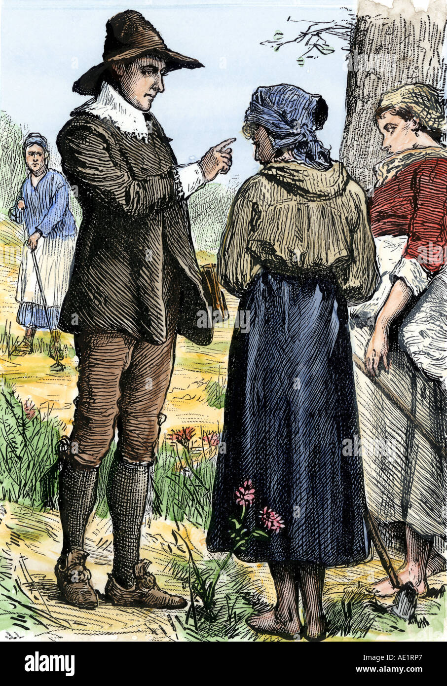 Quaker founder George Fox talking with women in a field 1600s. Hand-colored woodcut - Stock Image