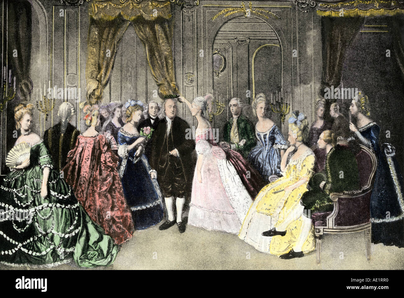 Benjamin Franklin representing the American cause at the royal court of French King Louis XVI. Hand-colored halftone of an illustration - Stock Image