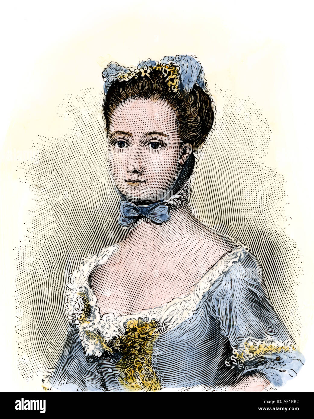 Baroness Fredericka von Riedesel wife of a Hessian officer in the American Revolution. Hand-colored woodcut - Stock Image