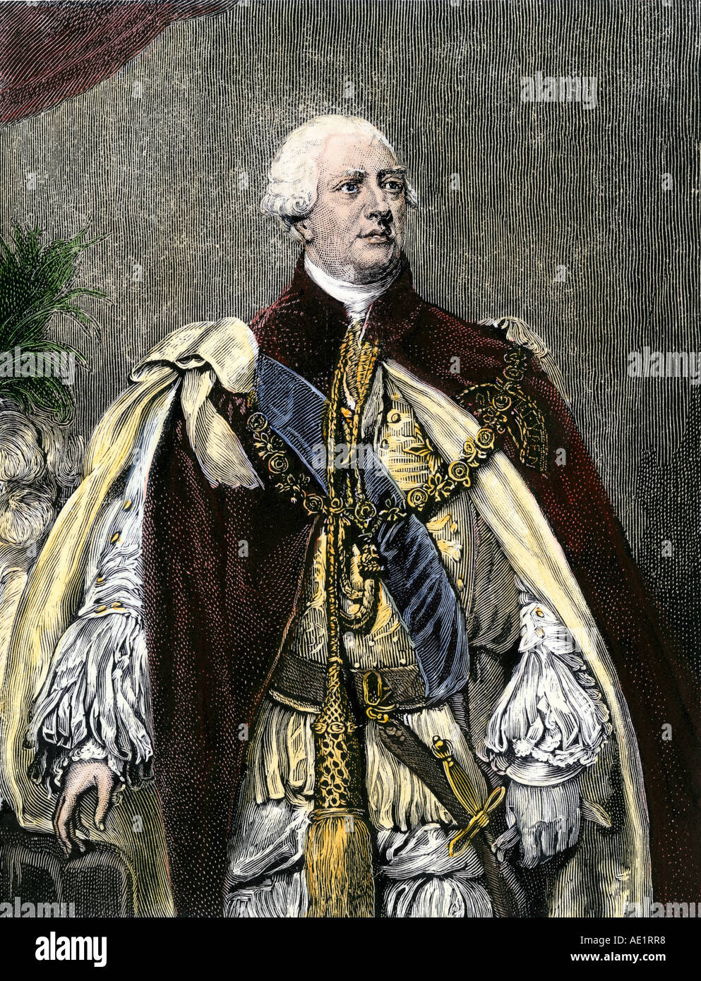 King George III in his royal attire. Hand-colored woodcut - Stock Image