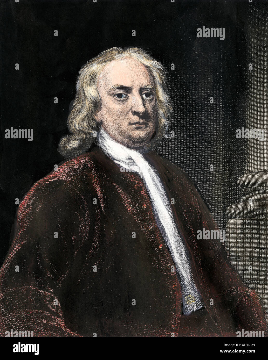 Sir Isaac Newton. Hand-colored steel engraving - Stock Image