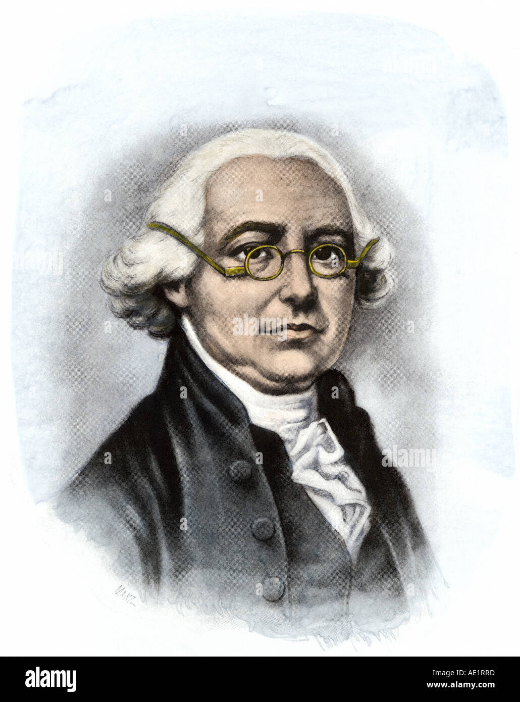 James Wilson a signer of the Declaration of Independence from Pennsylvania. Hand-colored halftone of an illustration - Stock Image