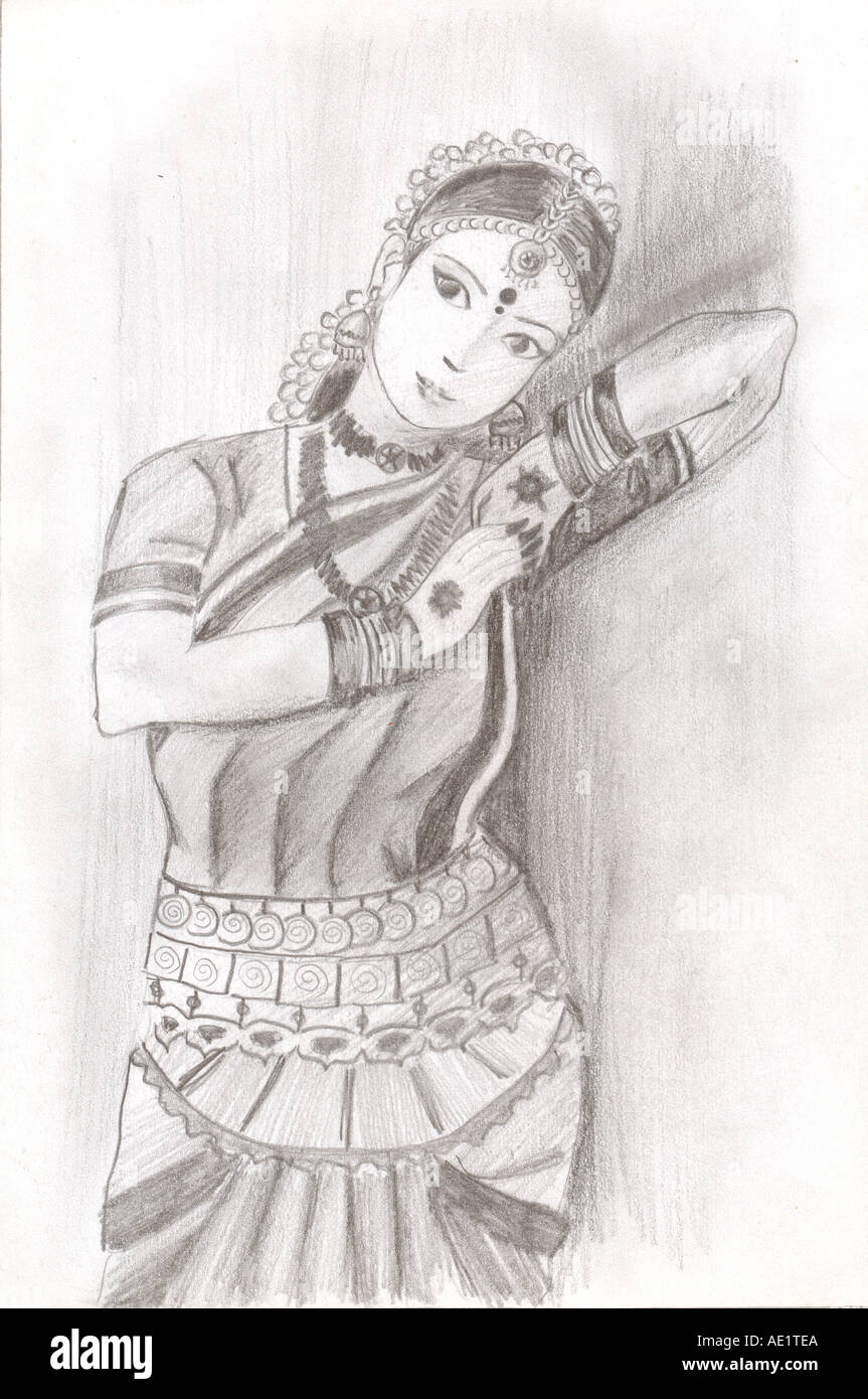 India Dance Drawing High Resolution Stock Photography And Images Alamy