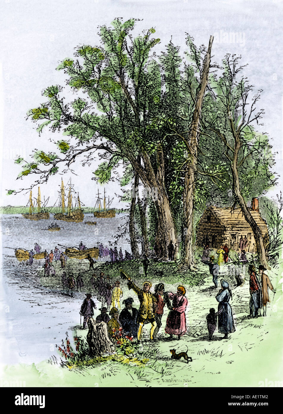Landing of William Penn and colonists at Philadelphia 1682. Hand-colored woodcut - Stock Image
