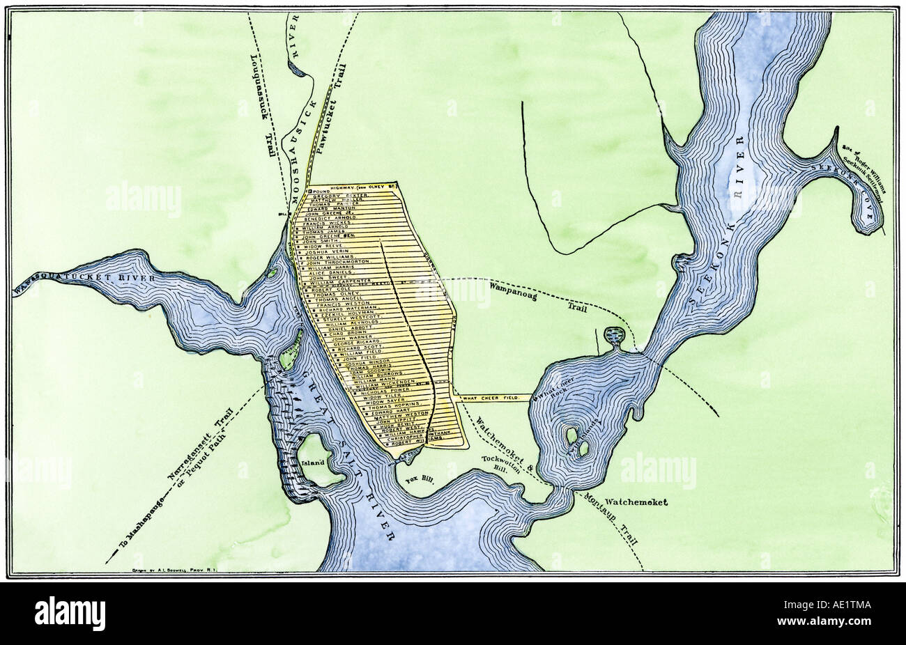 Map of colonial Providence Rhode Island in 1664 showing ...