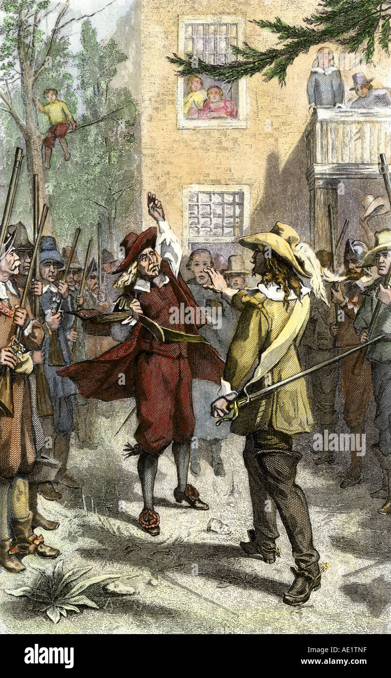 Rebel leader Nathaniel Bacon confronting Royal Governor Sir William Berkeley in Virginia Colony 1676. Hand-colored Stock Photo
