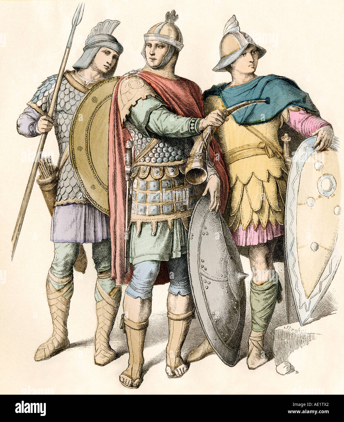Soldiers of the eastern Roman Empire with shields and spear. Hand-colored print - Stock Image
