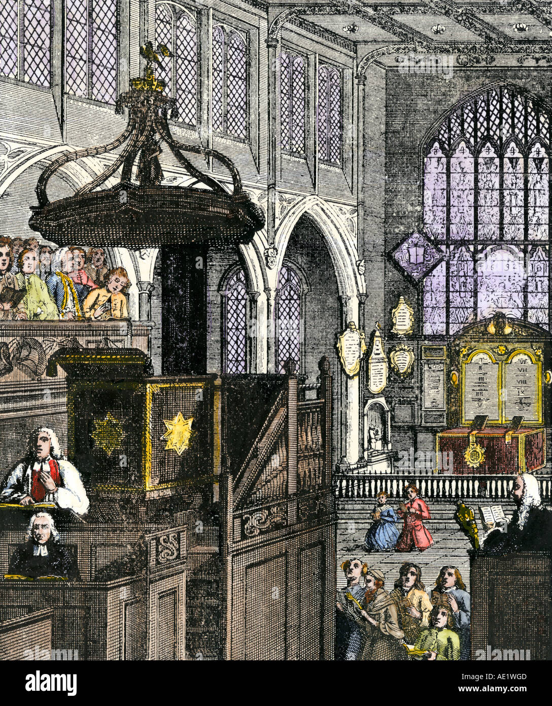 St. Margaret's Church Westminster between 1692 and 1720. Hand-colored woodcut - Stock Image