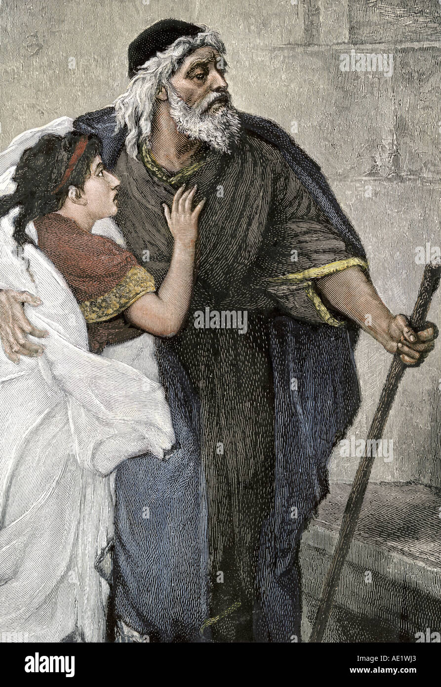 Father walking with a cane aided by his daughter. Hand-colored woodcut - Stock Image